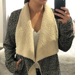 Herringbone lined coat size m